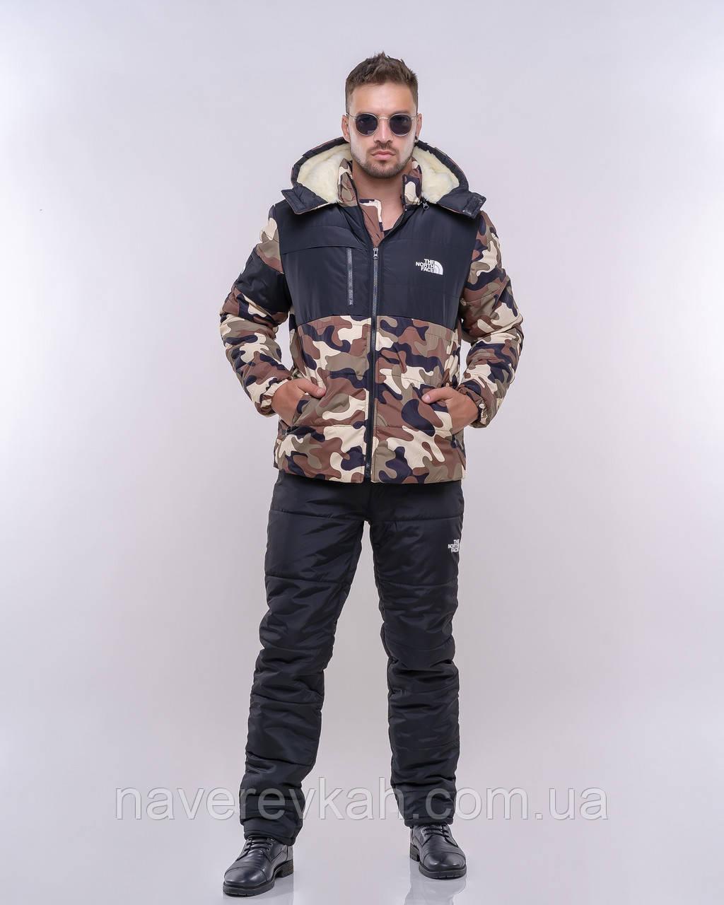 Мужской зимний теплый спортивный костюм плащевка на силиконе черный+камуфляж 44 46 48 50 52