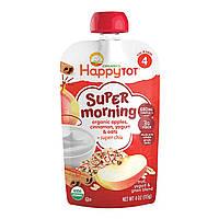 Happy Family Organics, Счастливый малыш, суперутро, фрукты, смесь йогурта и зерна, органические яблоки, корица, йогурт и овес, этап 4, 4 унции (113 г)