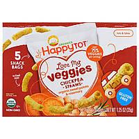 Happy Family Organics, Счастоивый малыш Organics, люблю мои овощи, мешочки с соломкой из нута, органический батат и размарин, 5 пакетов, 0,25 унции 7,