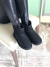 Угги женские зимние (МЕХ) UGG Classic Mini Suede черные (Top replic), фото 3