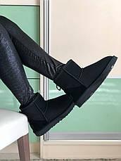 Угги женские зимние (МЕХ) UGG Classic Mini Suede черные (Top replic), фото 2