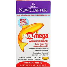 New Chapter, Wholemega, Риб'ячий жир першого віджиму з аляскинского лосося, 1000 г, 180 желатинових капсул, офіційний сайт