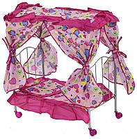 Кроватка кукольная розовая для кукол и пупсов на колесиках с балдахином и матрасом, постельным бельем, коробка