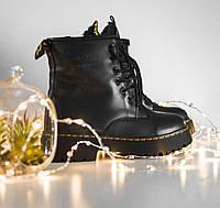 Ботинки женские Dr. Martens Jadon Fur черные кожаные высокие на платформе зимние