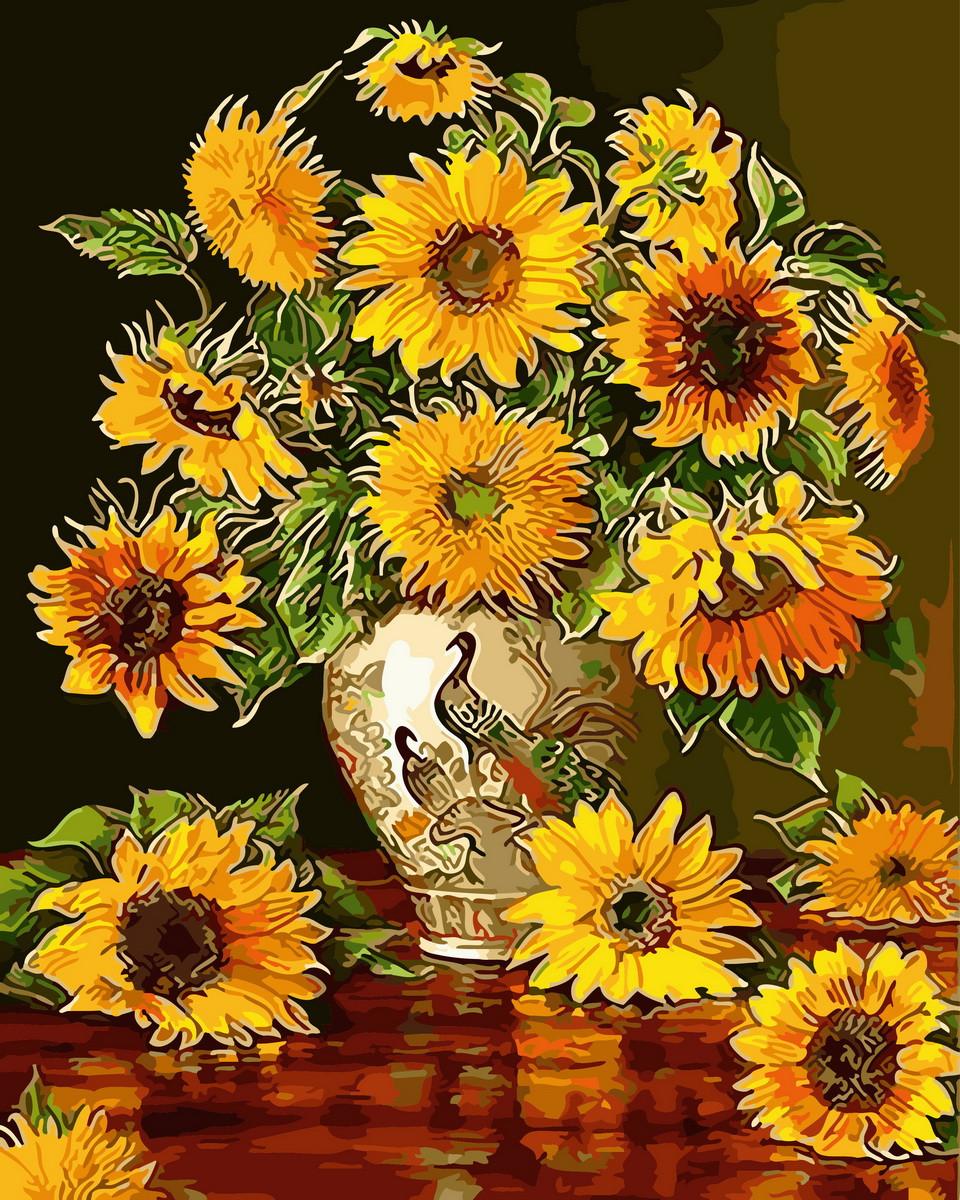 Картина по номерам Подсолнухи в вазе с павлинами (BK-GX31167) 40 х 50 см