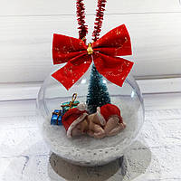 """Прозрачная елочная игрушка """"Новогодний шар на елку"""" Ручная работа"""
