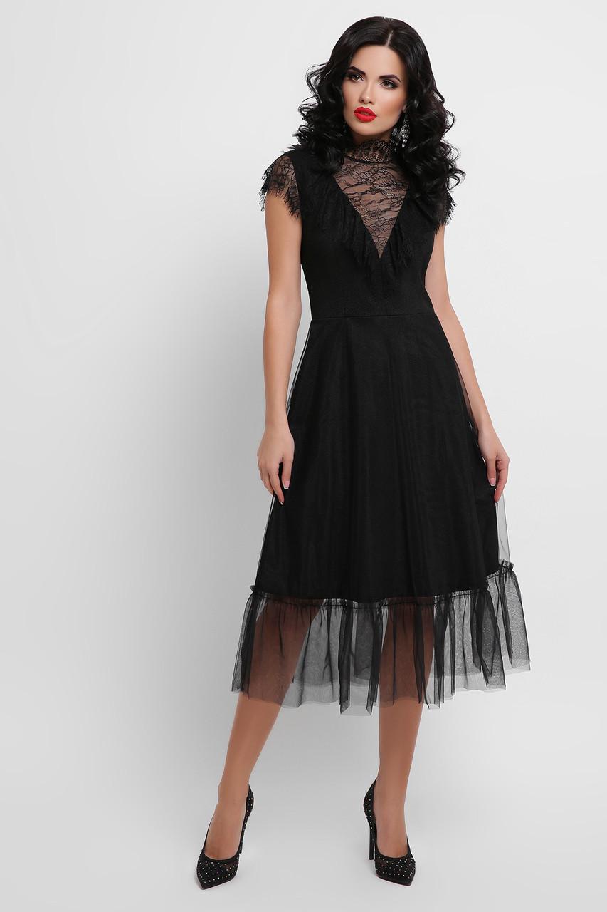 Черное вечернее платье миди с кружевом и сеткой