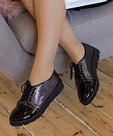 Женские лаковые туфли-оксфорды, черные, размер 37 (24)