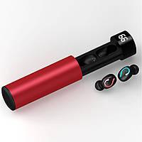 ПоверБанк + Наушники беспроводные HBQ Q67. С уровнем заряда кейса! Красный