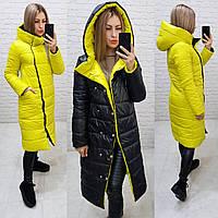 Куртка евро зима двусторонняя с капюшоном арт. 1007 желтый + черный / черно-желтого цвета
