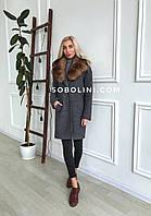 Пальто с меховым съемным воротником, фото 1