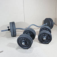Штанга W-подібним грифом + гантелі   47 кг, фото 4