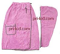 Набор для сауны и бани женский полотенце-халат +  шапочка, маленькое полотенечко, фото 1