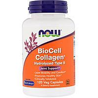 Now Foods, Коллаген BioCell гидролизованный II типа, 120 вегетарианских капсул, официальный сайт