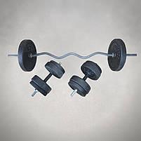 Штанга W-подібним грифом + гантелі   58 кг, фото 2