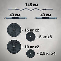 Штанга W-подібним грифом + гантелі | 108 кг, фото 2
