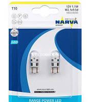 Светодиодные лампы головного освещения t10 led white 6000k b2 1w w2,1x9,5d narva180034000