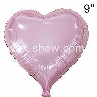 """Фольгований куля Серце 9"""" рожеве (Китай)"""