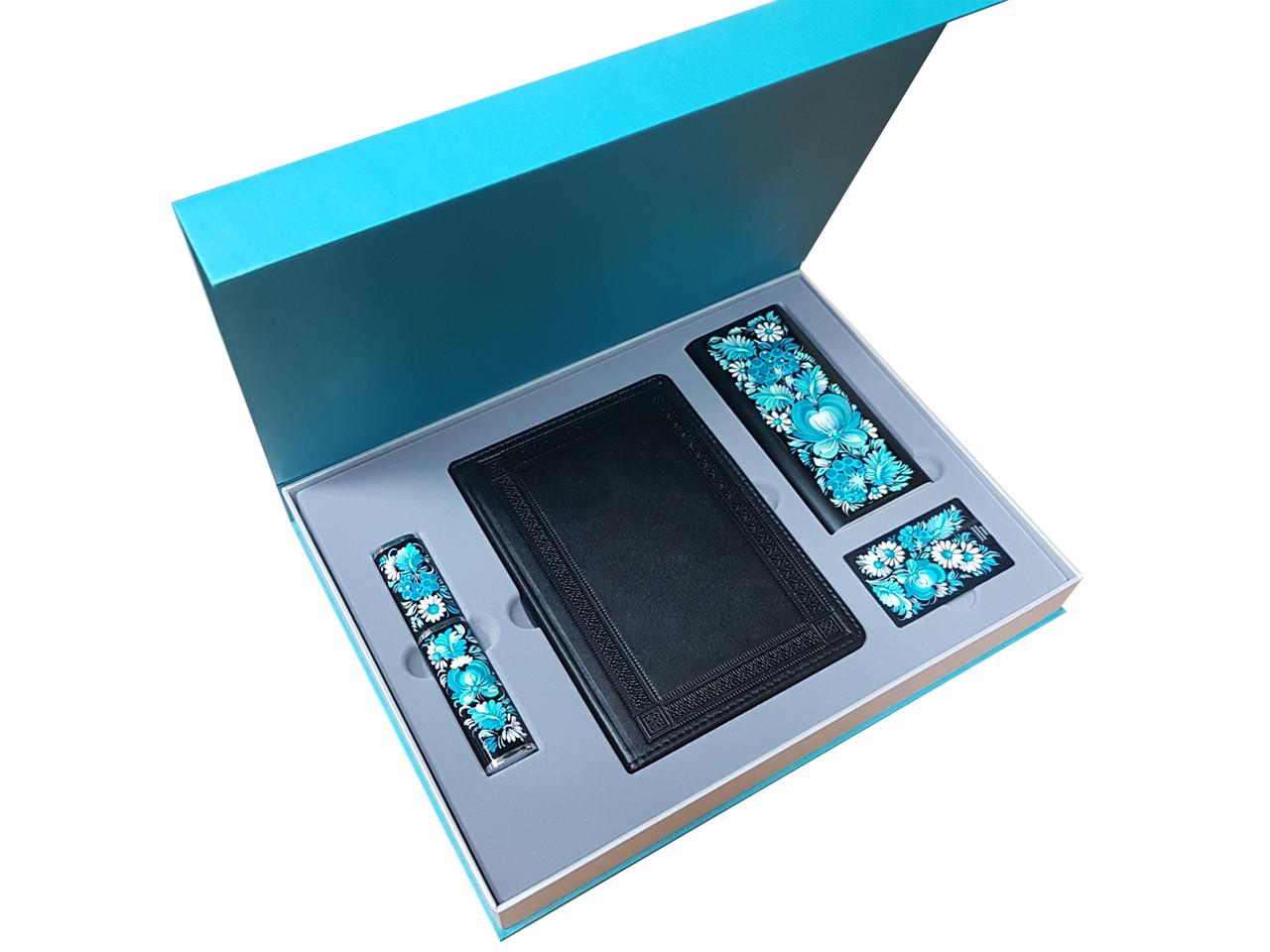 """Подарунковий набір """"Преміум"""": щоденник А5 шкіряний, ручка в футлярі, Xiaomi Power Bank і флеш-карта"""