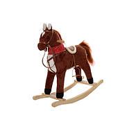Детская музыкальная лошадка качалка для ребенка Коричневая
