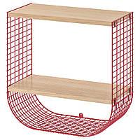 IKEA SVENSHULT Полка с отсеком для хранения, коричневато-красный, белый окрашенный дуб, 41x20 см (804.000.75), фото 1
