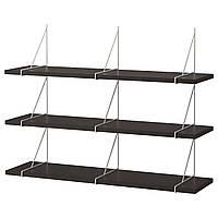 IKEA BERGSHULT / PERSHULT Настенная полка, черно-коричневая, белая, 120x30 см (692.911.53), фото 1