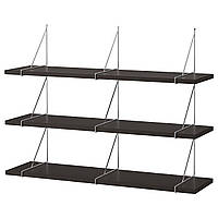IKEA BERGSHULT / PERSHULT Настенная полка, черно-коричневая, хром, 120x30 (792.911.62), фото 1