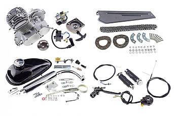 Двигатель (В сборе)  велосипедный (в сборе) 80 см³ ( мех. стартер, бак, ручка газа, звезда, цепь) KOMATCU