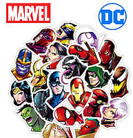 Набор виниловых стикеров наклеек 25шт Marvel и DC Винтаж