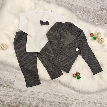 Нарядный костюм тройка на мальчика  серый 2-3 года, фото 2