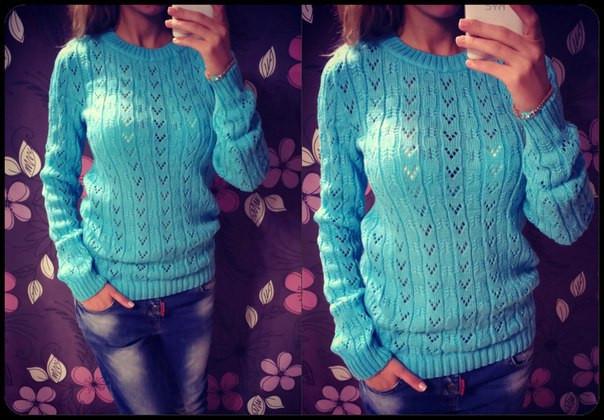 Женский голубой свитер