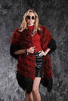 "Шуба жилет из испанской ламы рукава съемные цвета ""Бордо"", фото 1"