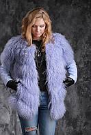 Полушубок куртка жилет из испанской ламы и кожи теленка , фото 1
