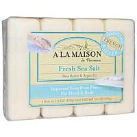 A La Maison de Provence, Мыло для рук & тела, Свежая морская соль, 4 бруска по 3.5 унции