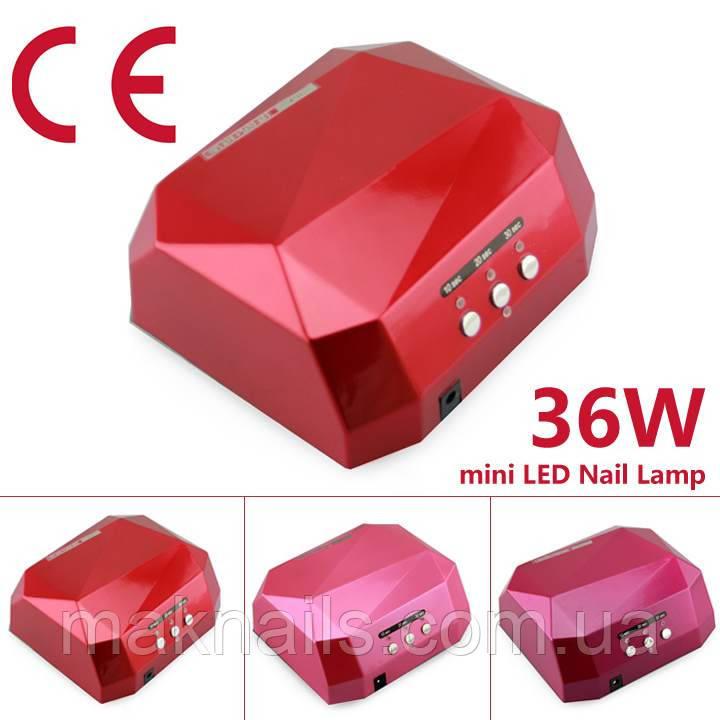 Лампа CCFL+LED 36 вт. (кристалл красная).СУШИТ ВСЕ ГЕЛИ И ГЕЛЬ-ЛАКИ ВСЕГО ЗА 20-30 сек.