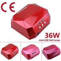 Лампа CCFL+LED 36 вт. (кристал червона).СУШИТЬ ВСІ ГЕЛІ ТА ГЕЛЬ-ЛАКИ ВСЬОГО ЗА 20-30 сек.
