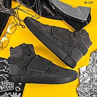 Мужские зимние замшевые кроссовки Adidas Tubular Invader Strap с мехом, серые.