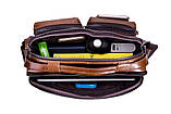 Сумка мужская кожаная стильная. Барсетка портфель  из натуральной кожи (коричневая), фото 7