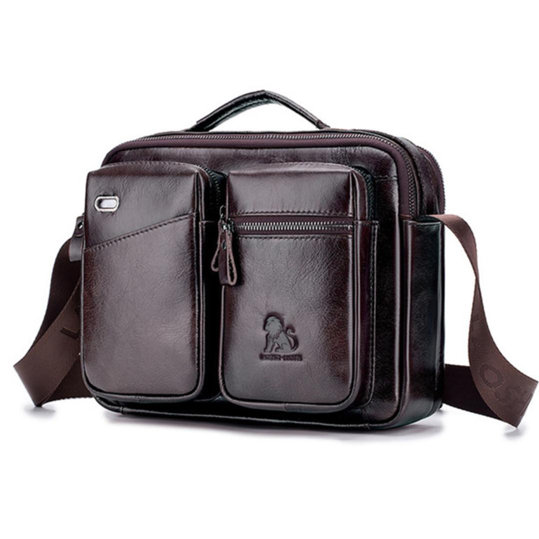 Сумка мужская кожаная стильная. Барсетка портфель  из натуральной кожи (коричневая)