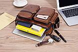 Сумка мужская кожаная стильная. Барсетка портфель  из натуральной кожи (коричневая), фото 6