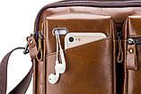 Сумка мужская кожаная стильная. Барсетка портфель  из натуральной кожи (коричневая), фото 10