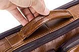 Сумка мужская кожаная стильная. Барсетка портфель  из натуральной кожи (коричневая), фото 9