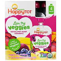 """Happy Family Organics, """"Обожаю свои овощи"""" из серии """"Счастливый карапуз"""", фруктово-овощная смесь с бананом, свеклой, тыквой и черникой, 4 пакета по,"""