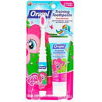 Orajel, Тренировочная зубная паста My Little Pony не содержит фтора, имеет розовый цвет, фруктовый вкус, от 3 мес. до 4 лет, 28,3 г, официальный сайт