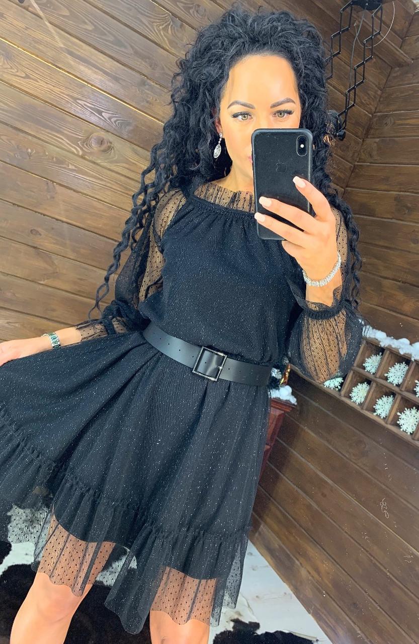 Платье из сетки с блестками и открытыми плечами 4403719