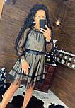Платье из сетки с блестками и открытыми плечами 4403719, фото 2