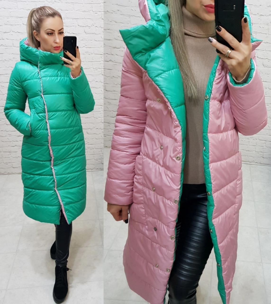 Wow!!! Двухсторонняя куртка еврозима с капюшоном, арт 1007,цвет мята +  розовый