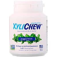 Xylichew, Жевательная резинка, подслащенная березовым ксилитом, перечная мята, 60 штук, 2,75 унций 78 г, официальный сайт