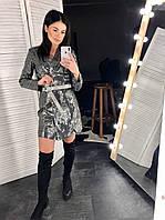 Платье пиджак из пайетки с длинным рукавом 6003741