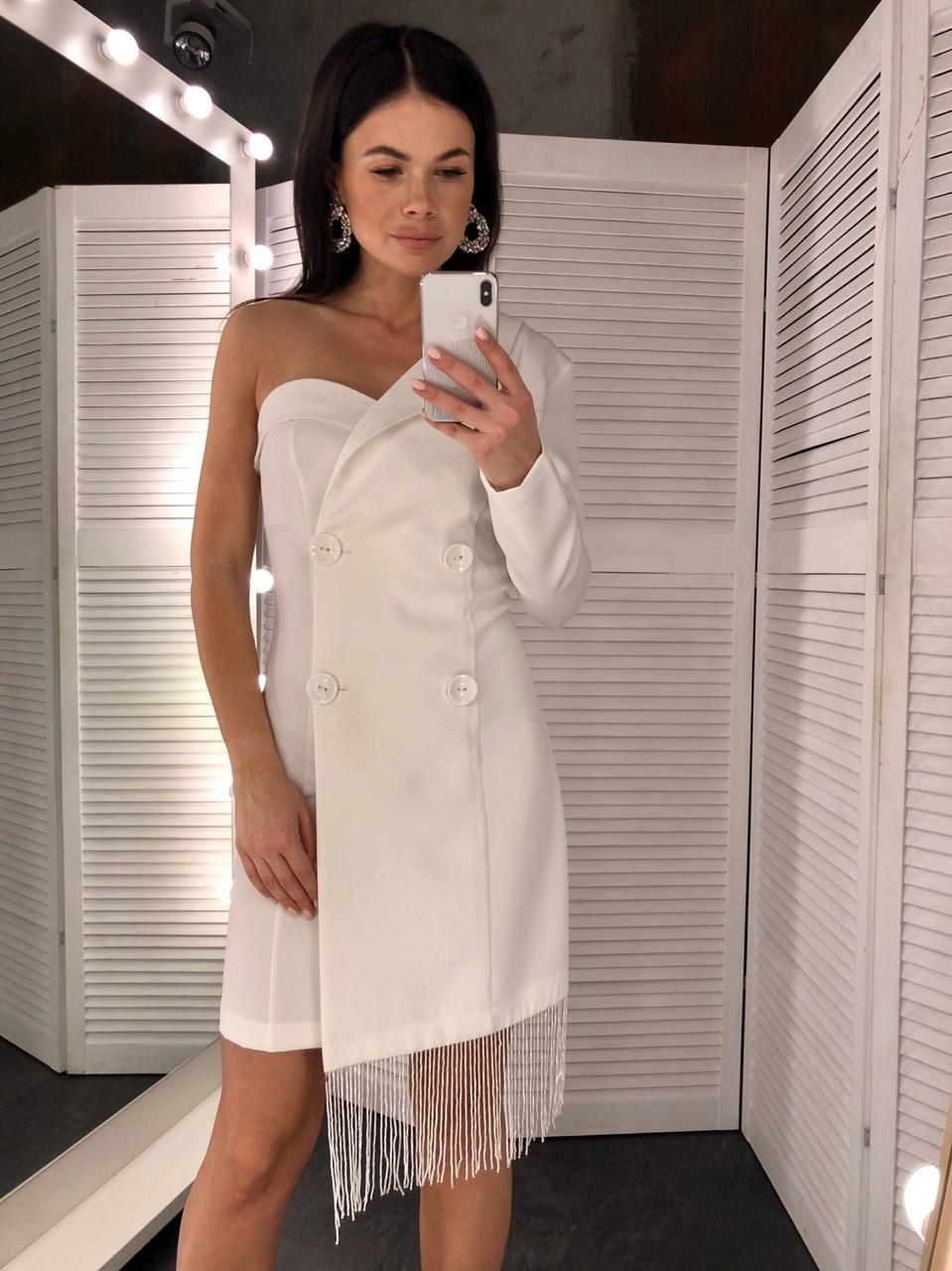 Платье пиджак с одним рукавом и бахрамой 6003743